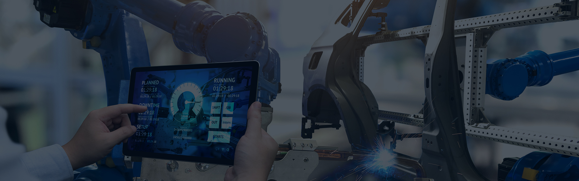 automation software on on tablet in factory