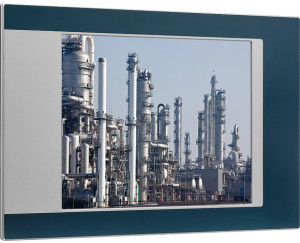 Industrial Panel PC with screen image of gas plant