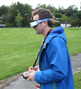 man using drone goggles
