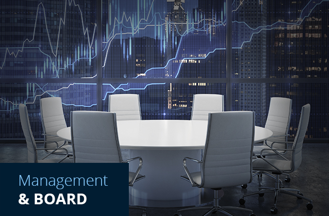board room with growth curves on the wall